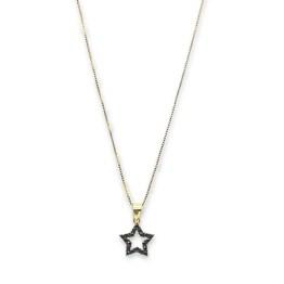 collana argento 925 gold stella zirconi neri