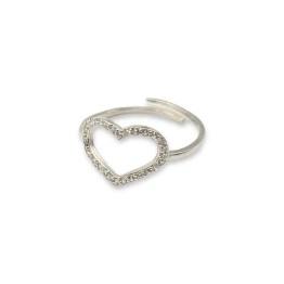 Anello argento 925 cuore aperto con zirconi