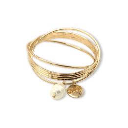 Bracciale rigido anelli gold e perla