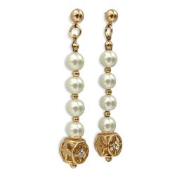 Orecchini bronzo gold perle e cubi