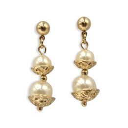 Orecchini bronzo perle pendenti 3.5 cm