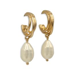 Orecchini gold cerchi e perle