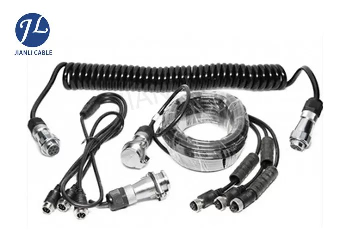 7 Pin Spring Coiled Electrical Cable With 3 AV Inputs For