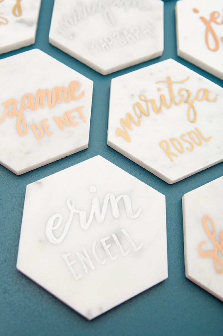 tile dinner table place cards