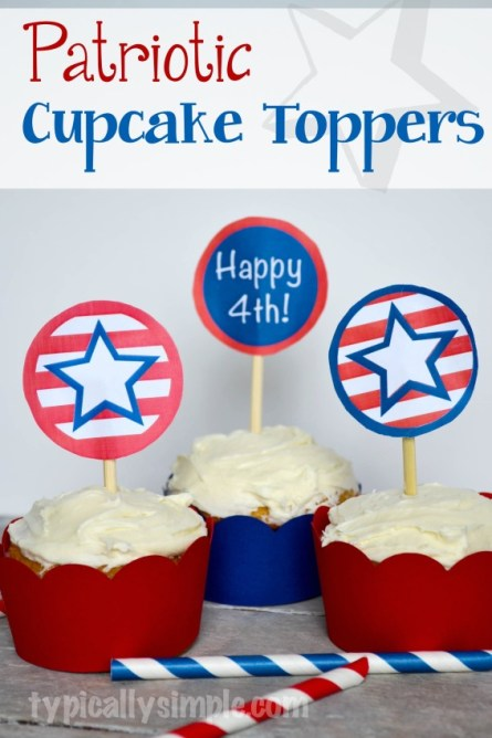 Red, white, and blue patriotic cupcake toppers for 4th of July