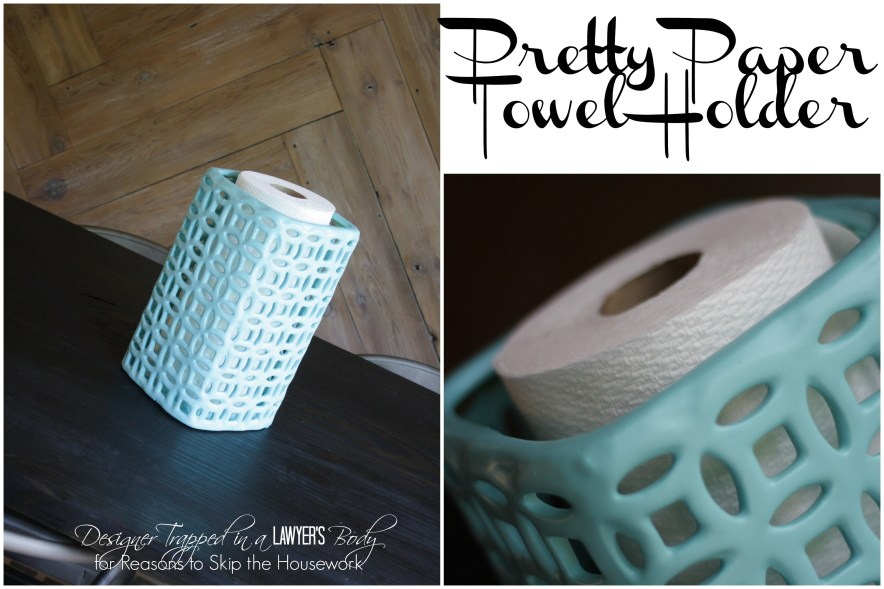 SUCH a great idea!  DIY paper towel holder that is pretty enough to display by Designer Trapped in a Lawyer's Body for Reasons to Skip the Housework!