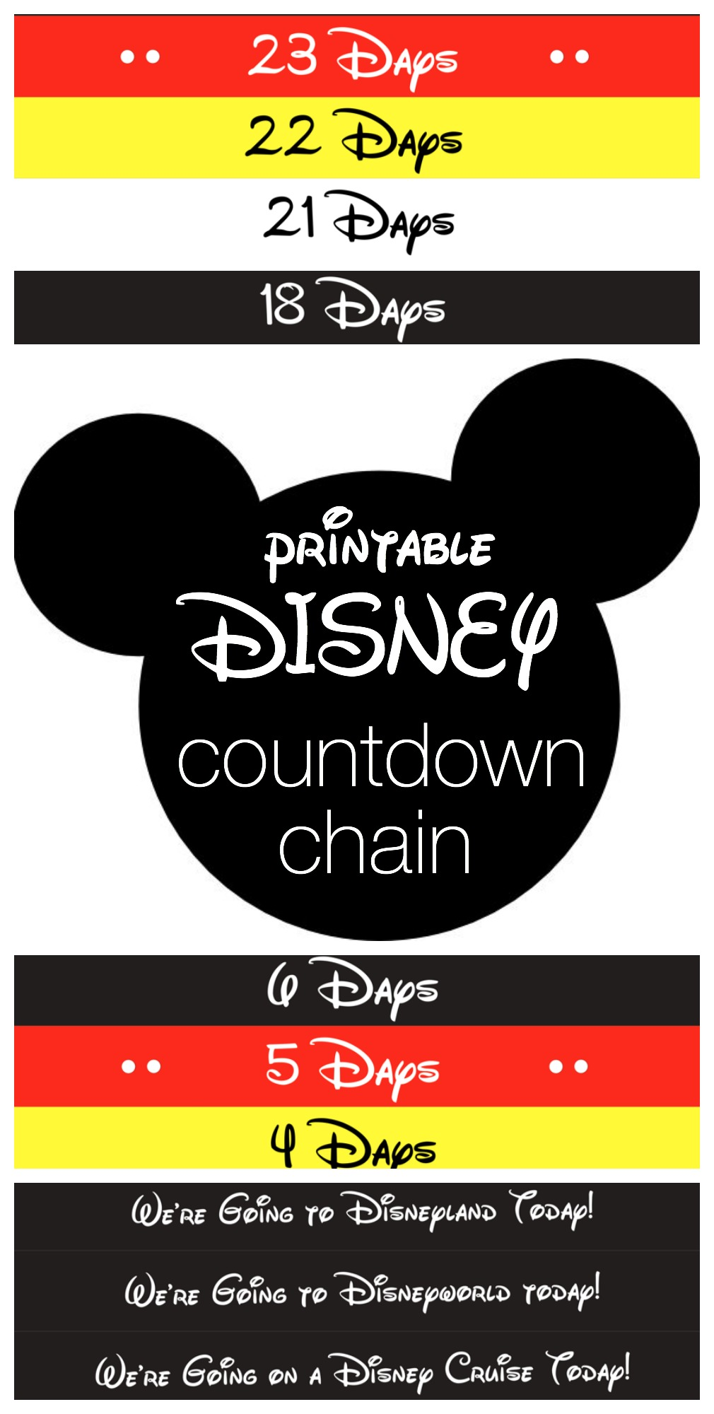 graphic about Disney Countdown Calendar Printable titled Disney Countdown Chain