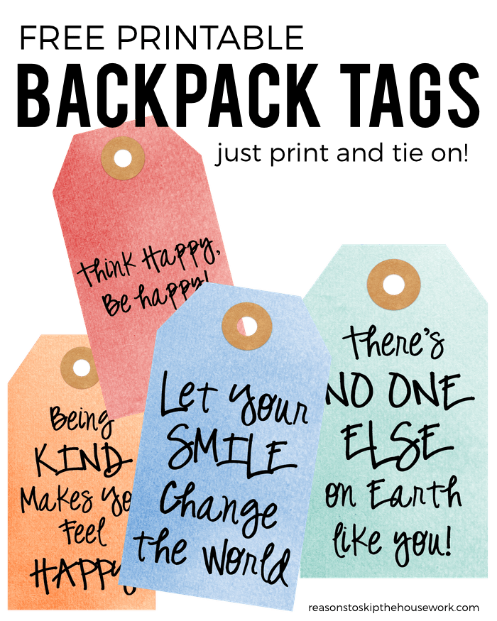 graphic regarding Printable Backpack Tags titled Backpack Tags