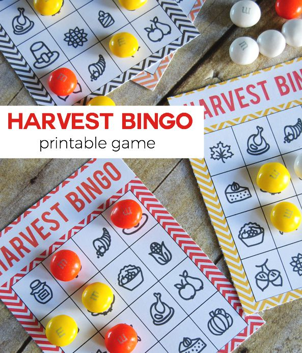 Harvest Bingo is a perfect Fall Printable Game that can be used all throughout Fall and the kids will love playing it over and over!