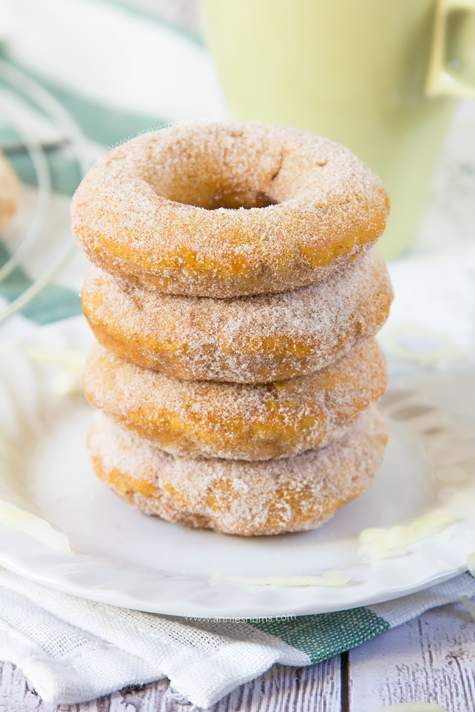 These Pumpkin Apple Sugar Doughnuts are baked, not fried and jam packed with pumpkin and freshly grated apple. Rolled in cinnamon sugar to finish them off, these are simply sublime!