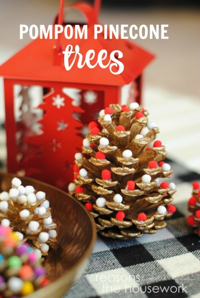 These Pom Pom Pinecones are the perfect Christmas Decoration that the whole family can help make!
