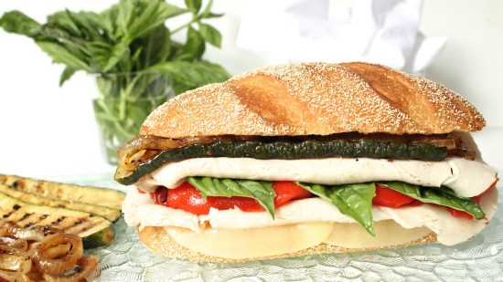 "alt=""Italian Turkey Sandwich with Marinated Zucchini and Onion"""