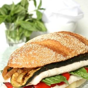 "alt=""Italian Turkey Sandwich with Marinaded Zucchini and Onion"""