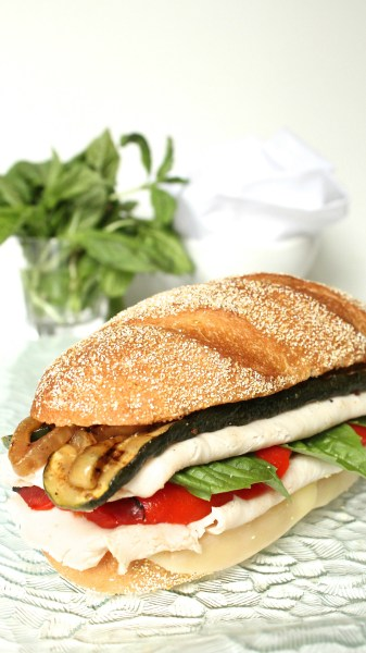 "alt=""Italian Turkey Sandwich with Marinaded Zucchini and Onion"""