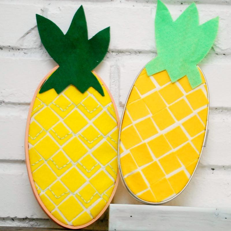 2 cute Embroidery Hoop Pineapples