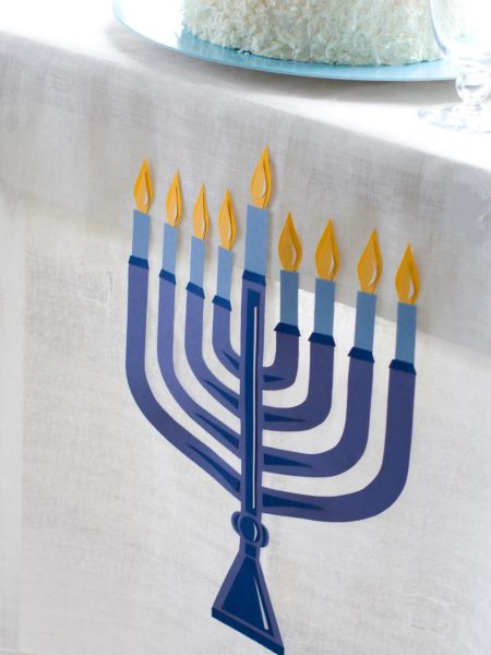 Menorah Tablecloth: Make your own Hanukkah crafts or get the whole family involved with one of these 10 Hanukkah Crafts