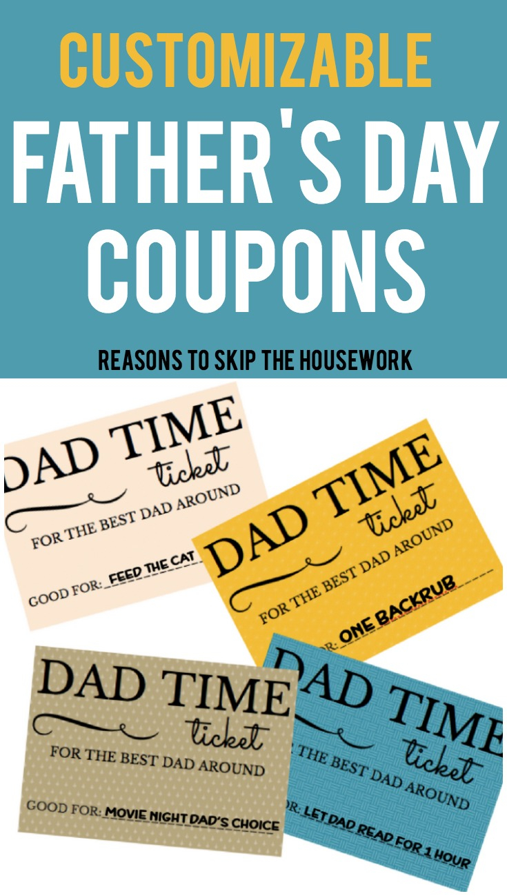 When you want to reward dad for father's day or his birthday, use these Father's Day Coupons to make a Coupon Book he'll love!