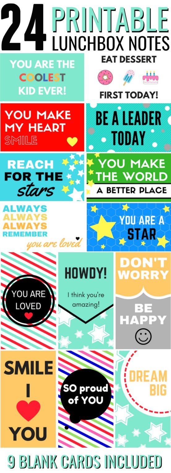 Printable Lunchbox Notes are the added touch of love all lunches need! Grab the free printable set now!