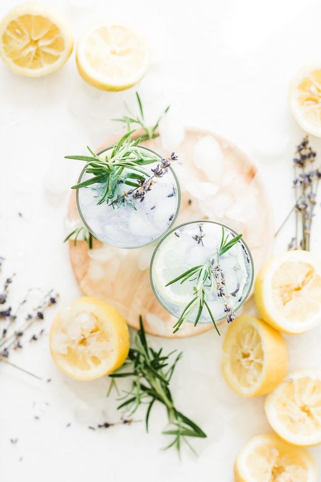 lavender lemonade aesthetically arranged