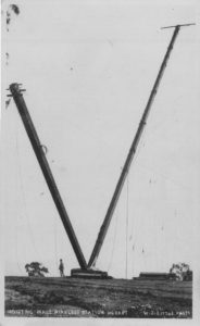 180 foot mast being erected in 1912 on the domain