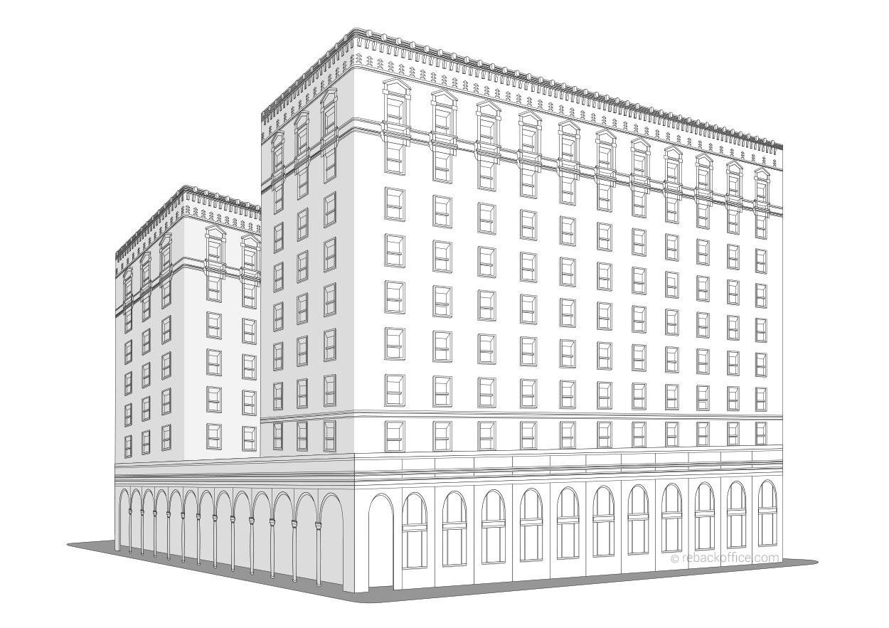 ReBackOffice Building Line Art Renderings Example 04