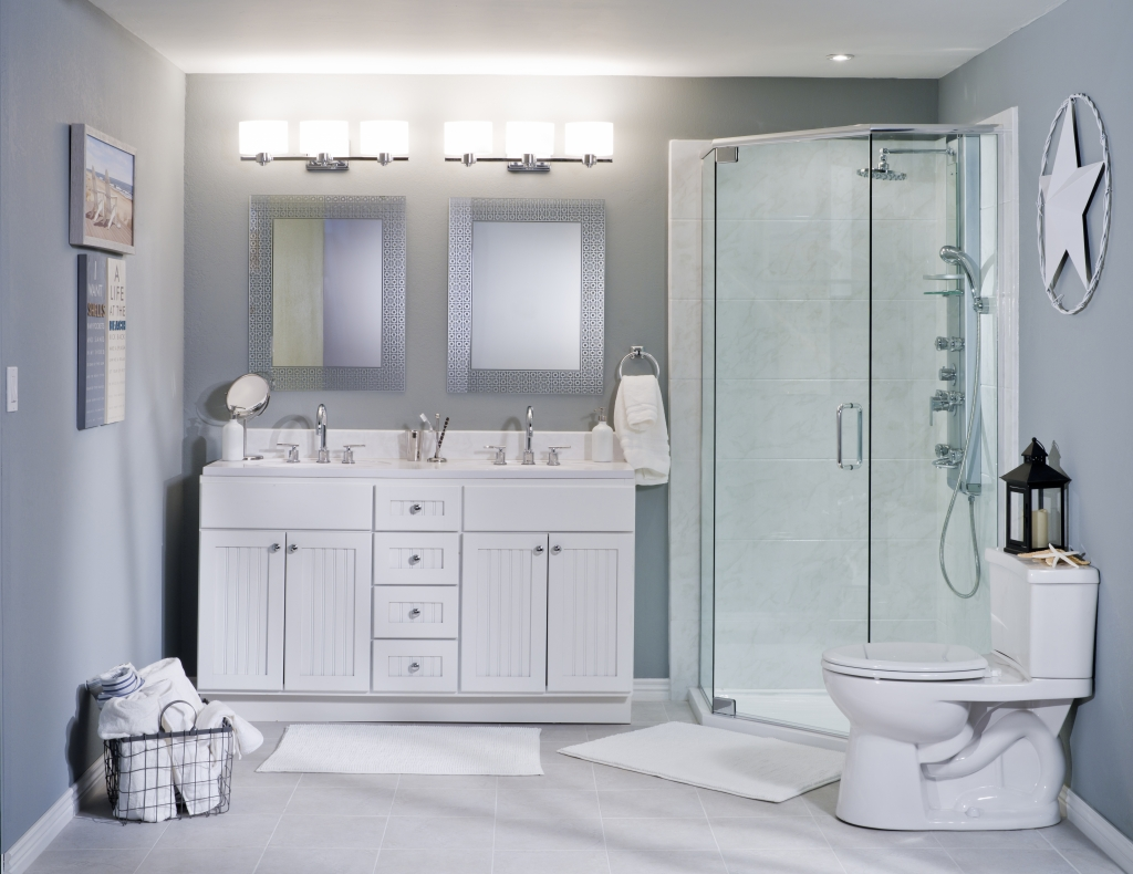 White Acrylic Marble Bathroom Wall Surround Re Bath