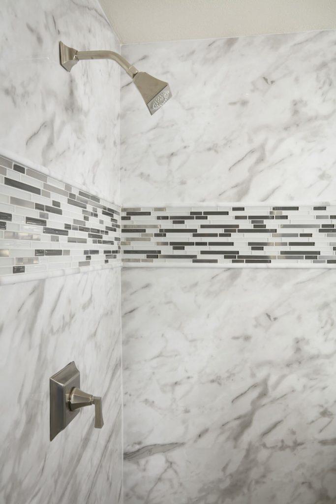 White Calcutta Marble Acrylic Bathroom Wall Surround Re