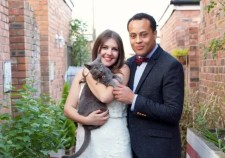 Cat in wedding photo | Make up and hair by Rebecca Anderton in Manchester at www.rebeccaanderton.co.uk
