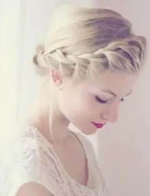 2015 Wedding Trends - French lace briad across front of hair from Rebecca Loves Weddings www.rebeccaanderton.co.uk