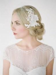 2015 Wedding Trends - Birdcage veil with vintage hairstyle from Rebecca Loves Weddings www.rebeccaanderton.co.uk
