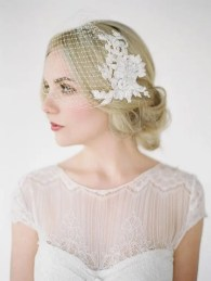 2015 Wedding Trends - Birdcage veil with vintage hairstyle from Rebecca Loves Weddings www.rebeccaanderton.co.uk