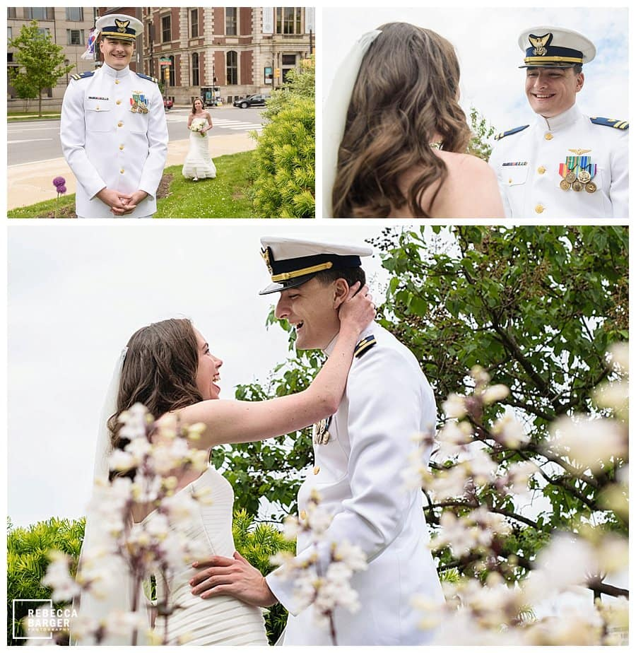 wedding couple first look Logan square
