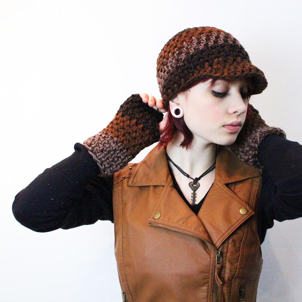 Brown crochet hat  brimmed winter hat  handmade original hat  winter accessories