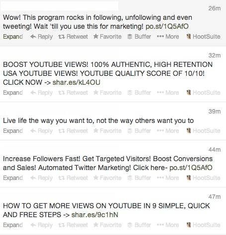 spam tweets