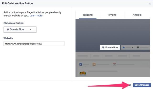 FB CTA Donate now button