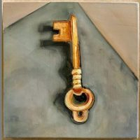 6x6 inch key still life on wood