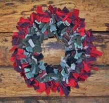 Wool mitten scraps tied on wire frame
