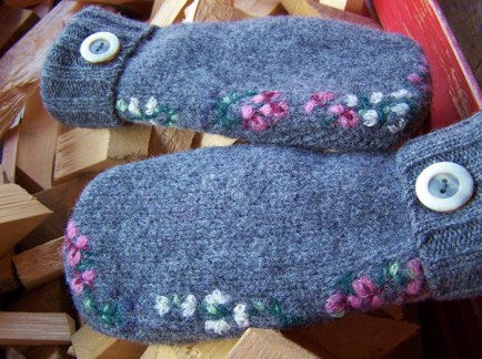 felted wool mittens