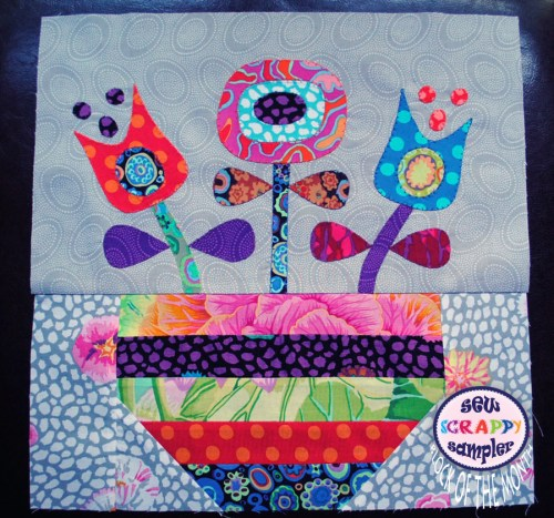 applique flowers quilt block