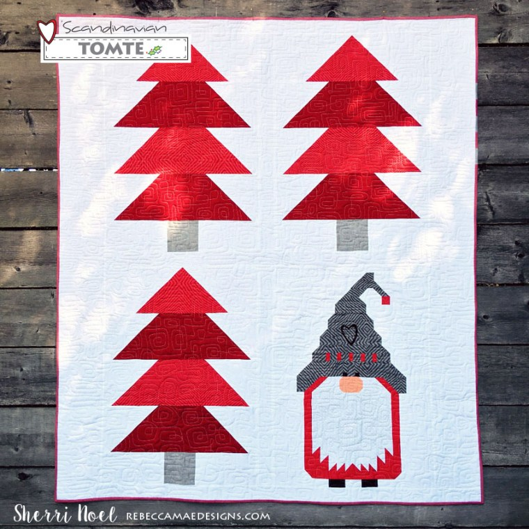 Scandinavian Tomte Quilt Pattern in red and white