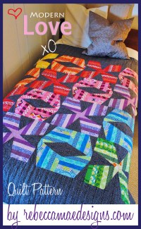 big stitch quilting ~ modern love xo quilt pattern by rebeccamaedesigns