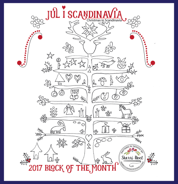 Jul i Scandinavia block of the month quilt pattern on rebeccamaedesigns.com
