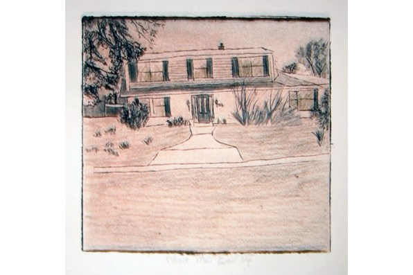 Geographic Geneology, Webster House 3 collagraph 8 x 8 2007