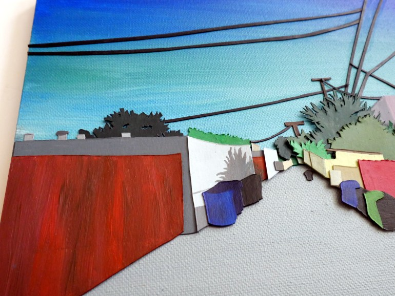 Detail of: Acrylic painting and collage of a street scene in Los Angeles
