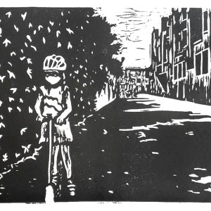 Pandemic Linocut: In The Alley