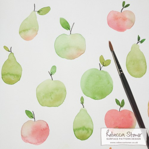 Watercolour Apples by Rebecca Stoner