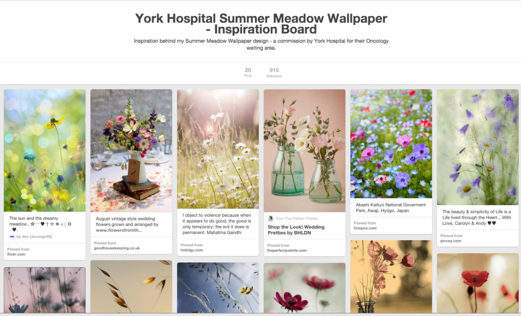Summer Meadow Wallpaper for York Hospital - inspiration board by Rebecca Stoner