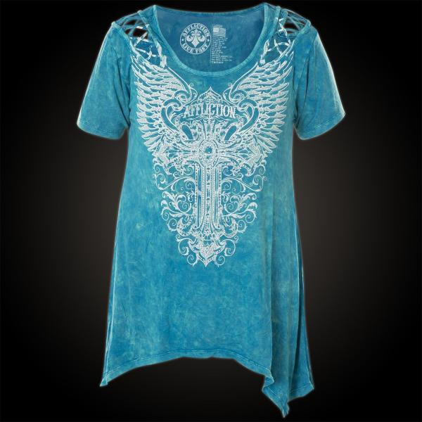 Affliction T-shirt Lorelei Print Featuring Wings And Cross