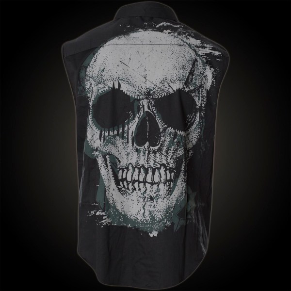 Wornstar Sleeveless Button Shirt Adamant In Black