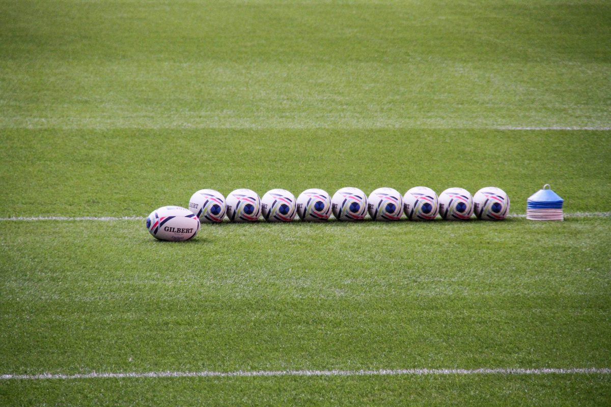 Rugby balls lined up at Wembley.
